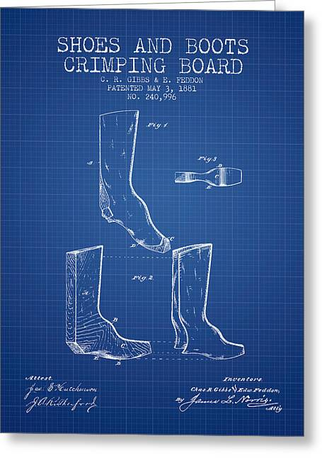 Boots Digital Art Greeting Cards - Shoes and Boots Crimping Board Patent from 1881 - Blueprint Greeting Card by Aged Pixel