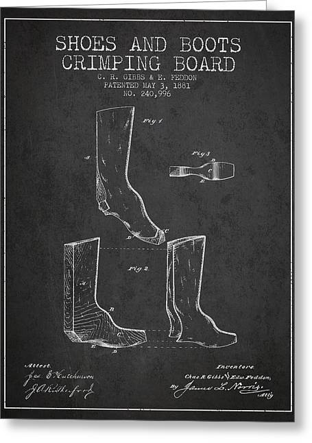 High Heeled Digital Art Greeting Cards - Shoes and Boots Crimping Board Patent from 1881 - Charcoal Greeting Card by Aged Pixel