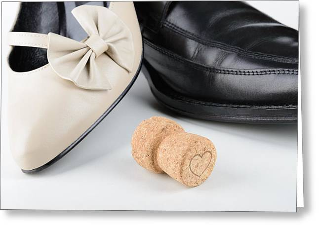 Footwear Love Greeting Cards - Shoes and Champagne for Saint Valentine Greeting Card by Alain De Maximy