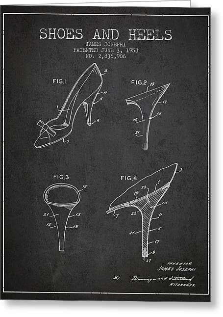 Lace Shoes Greeting Cards - Shoes and Heels patent from 1958 - Charcoal Greeting Card by Aged Pixel