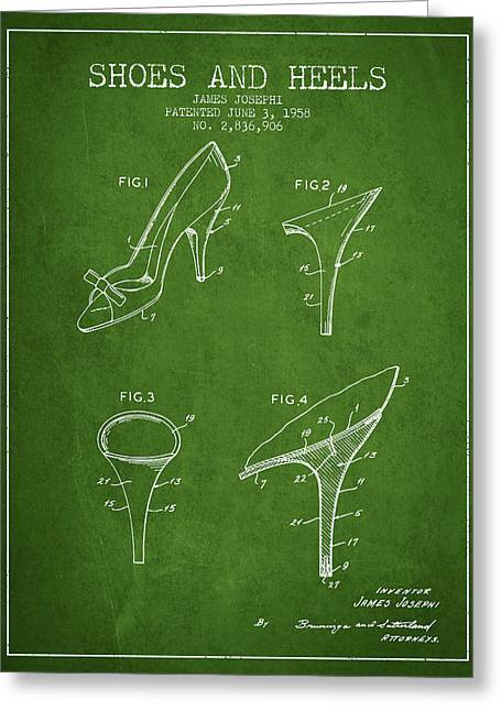 Shoe Lace Greeting Cards - Shoes and Heels patent from 1958 - Green Greeting Card by Aged Pixel