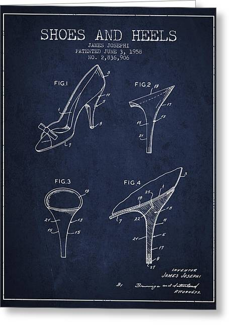 Shoe Lace Greeting Cards - Shoes and Heels patent from 1958 - Navy Blue Greeting Card by Aged Pixel