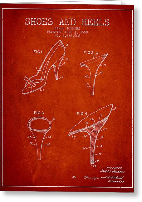 Shoe Lace Greeting Cards - Shoes and Heels patent from 1958 - Red Greeting Card by Aged Pixel