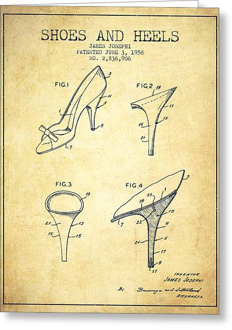 Lace Shoes Greeting Cards - Shoes and Heels patent from 1958 - Vintage Greeting Card by Aged Pixel