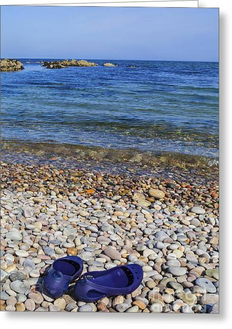 Clear Shoes Greeting Cards - Shoes on Pebbles Greeting Card by Diane Macdonald