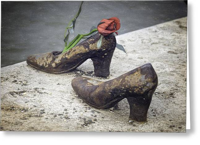 Metal Sculpture Greeting Cards - Shoes on the Danube Bank Greeting Card by Joan Carroll