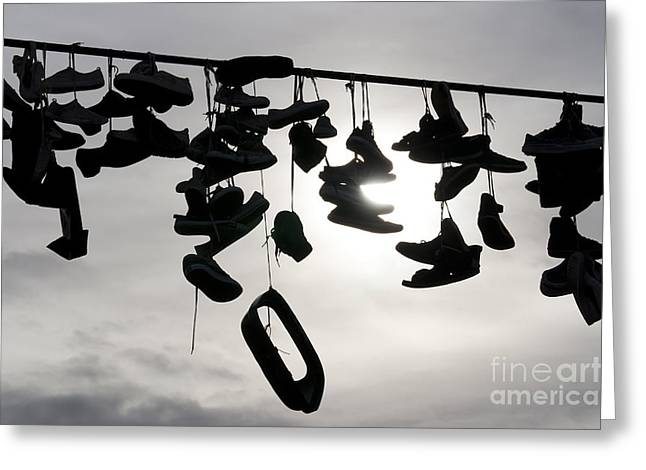 Happening Greeting Cards - Shoes On The Rope Greeting Card by Michal Boubin