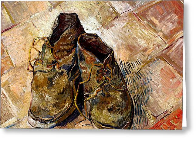 Old Masters Greeting Cards - Shoes Greeting Card by Vincent van Gogh