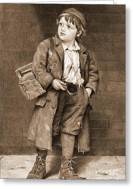 Engraving Greeting Cards - Shoeshine Boy 1890 Greeting Card by Padre Art