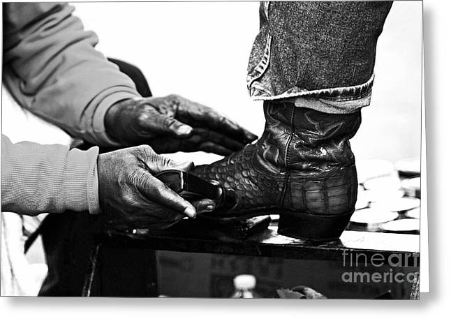 Black Boots Greeting Cards - Shoeshine Greeting Card by John Rizzuto