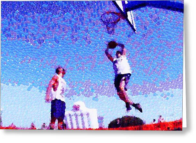 Basket Ball Game Greeting Cards - Shoot in a jump Greeting Card by Magomed Magomedagaev