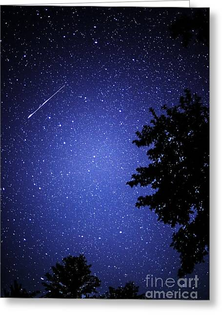 Perseid Meteor Shower Greeting Cards - Shooting Star and Satellite Greeting Card by Thomas R Fletcher