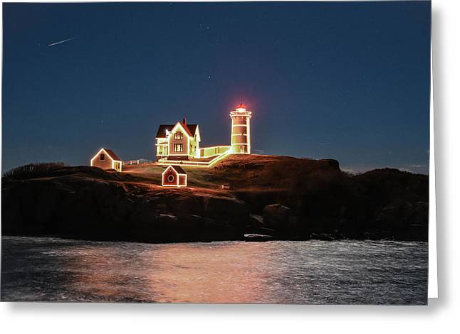 Maine Lighthouses Greeting Cards - Shooting Star at Nubble Lighthouse Greeting Card by Roland  Strauss