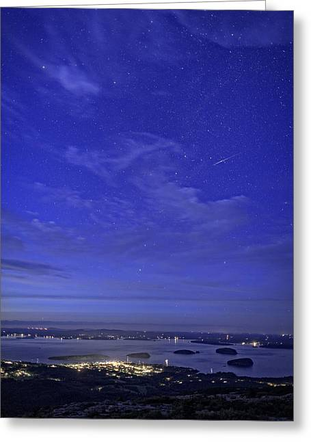 Bar Harbor Greeting Cards - Shooting Star Over Bar Harbor Greeting Card by Rick Berk