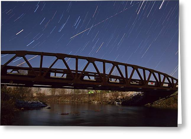 Startrails Greeting Cards - Shooting Star Over Bridge Greeting Card by Dan Sproul