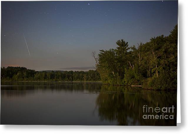 Western Ma Greeting Cards - Shooting Star over Onota Lake Greeting Card by Jonathan Welch