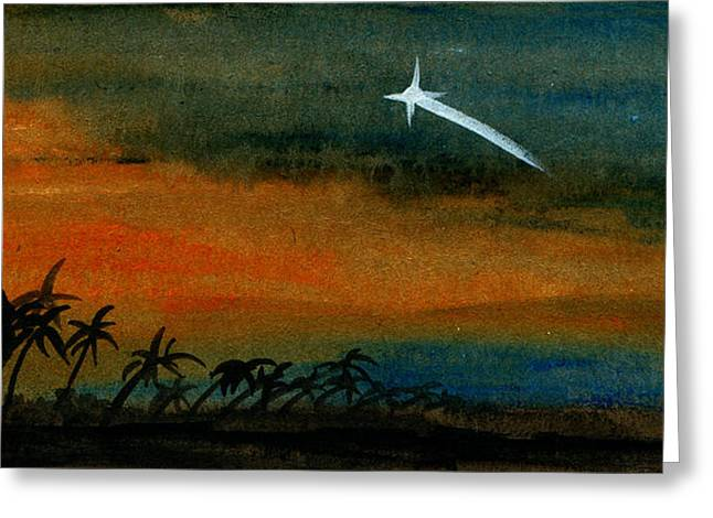 Gloaming Paintings Greeting Cards - Shooting Star Greeting Card by R Kyllo