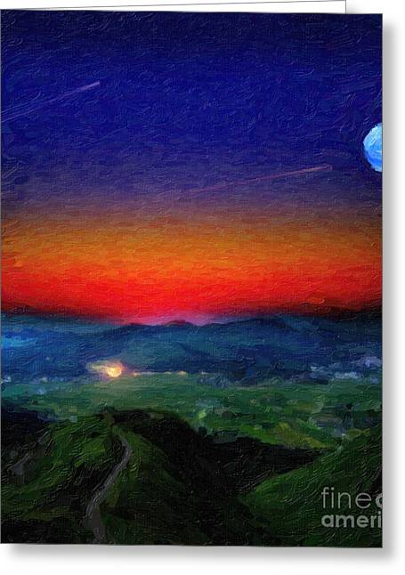 Constellations Paintings Greeting Cards - Shooting Stary Night Art Greeting Card by Adam Asar
