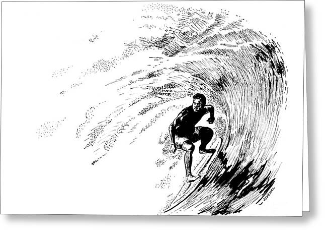 Surfer Drawings Greeting Cards - Shooting Surfer Greeting Card by Joseph Juvenal
