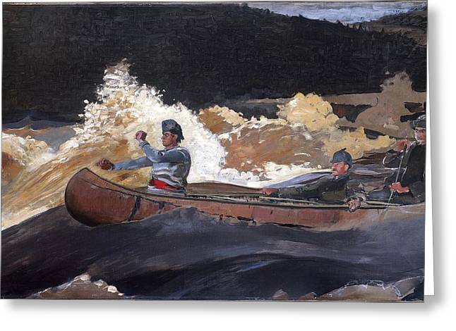 Canoe Paintings Greeting Cards - Shooting the Rapids Saguenay River Greeting Card by Winslow Homer