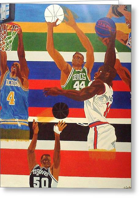 Basketball Team Paintings Greeting Cards - Shoots N Hoops Greeting Card by Leslye Miller