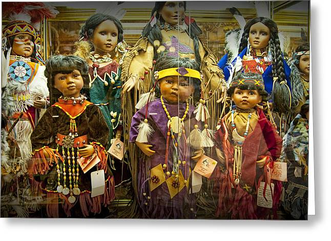 Selling Fine Art Greeting Cards - Shop Display of American Indian Dolls Greeting Card by Randall Nyhof