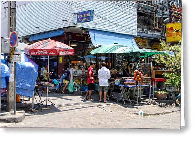 Table Lamp Greeting Cards - Shop District Street Corner Greeting Card by Linda Phelps