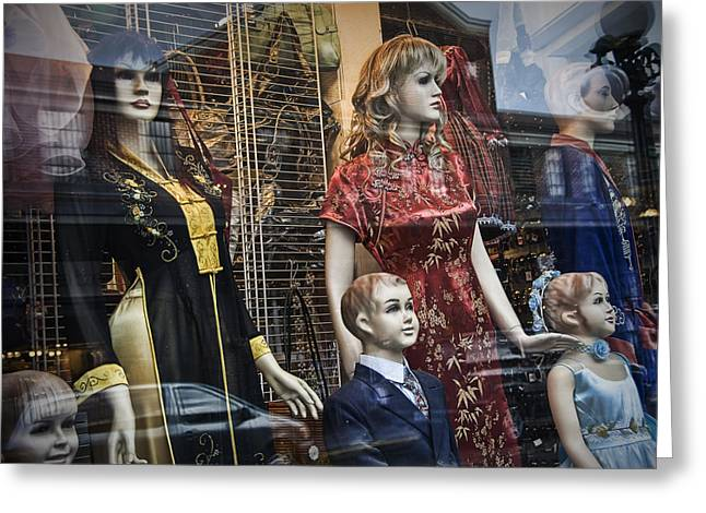 Apparel Greeting Cards - Shop Window Display of Mannequins Greeting Card by Randall Nyhof