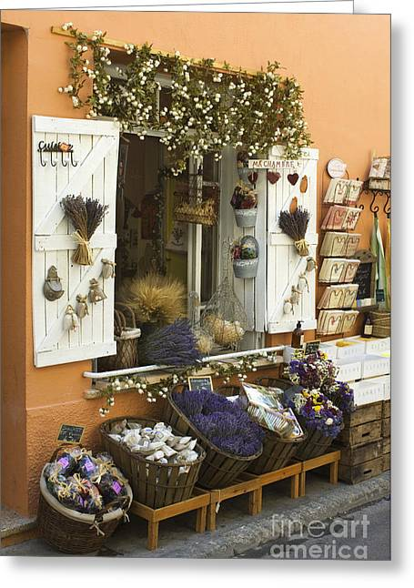 European Flower Shop Greeting Cards - Shop Window, France Greeting Card by John Shaw