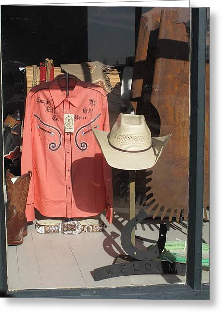 Fancy Boots Greeting Cards - Hays Kansas - Shop Window Greeting Card by Frank Romeo