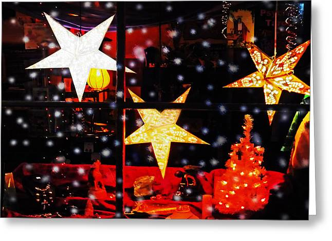 Snowy Night Greeting Cards - Shop Window On Christmas Eve Greeting Card by Terril Heilman