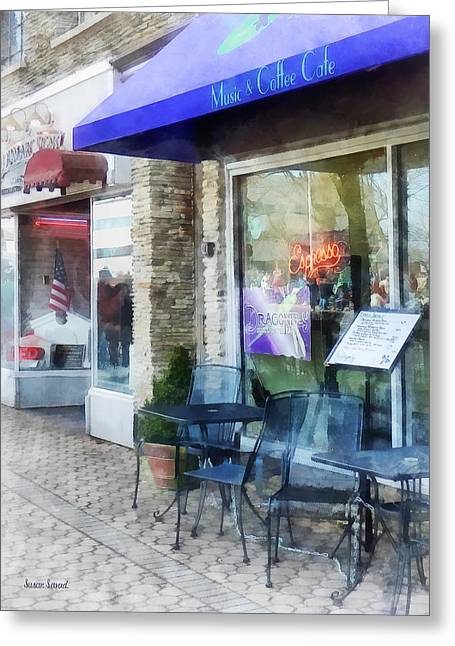 Coffee Greeting Cards - Shopfront - Music and Coffee Cafe Greeting Card by Susan Savad