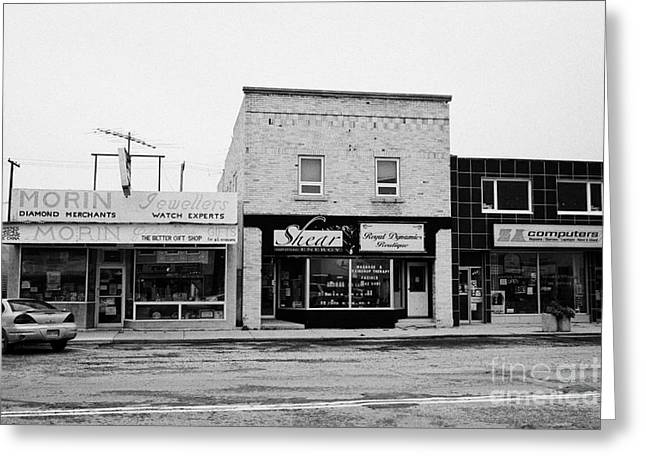 Localities Greeting Cards - shopfronts of small businesses on first street the town of assiniboia sk Canada Greeting Card by Joe Fox