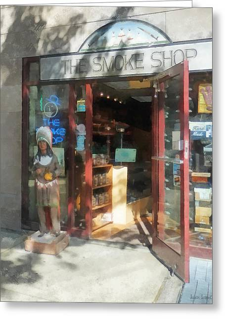 Street Scene Greeting Cards - Shopfronts - Smoke Shop Greeting Card by Susan Savad