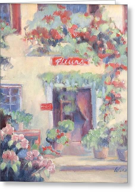 Al Fresco Greeting Cards - Shoppe des Fleurs Greeting Card by Linda  Wissler
