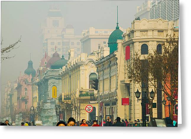 Shopper Greeting Cards - Shoppers Along A Central Street Greeting Card by Panoramic Images