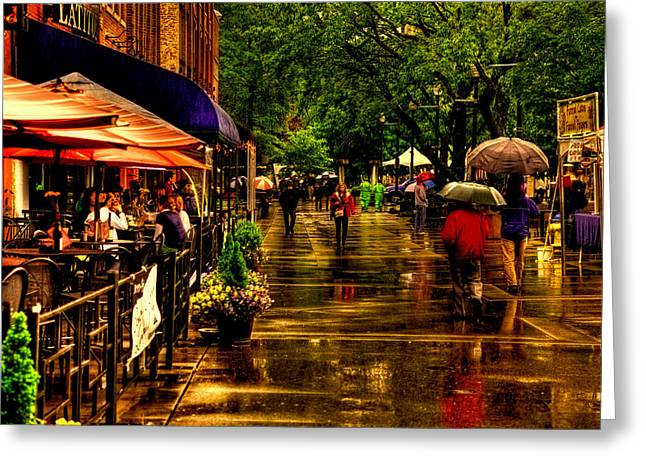 Back Alley Greeting Cards - Shoppers in the Rain - Market Square Knoxville Tennessee Greeting Card by David Patterson