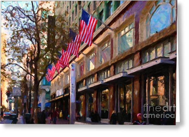Downtown San Francisco Greeting Cards - Shopping Along Market Street in San Francisco - 5D20712 Greeting Card by Wingsdomain Art and Photography