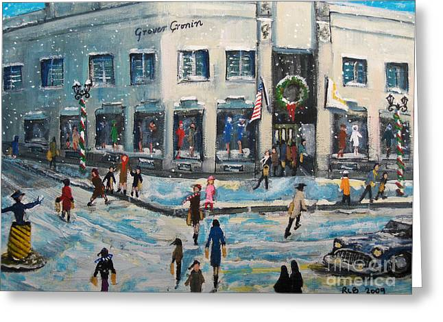 Shopping Greeting Cards - Shopping at Grover Cronin Greeting Card by Rita Brown