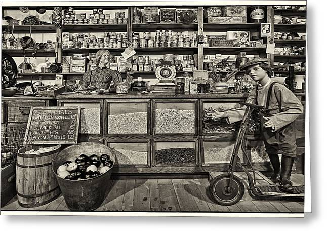 Purchase Greeting Cards - Shopping at the General Store Greeting Card by Priscilla Burgers