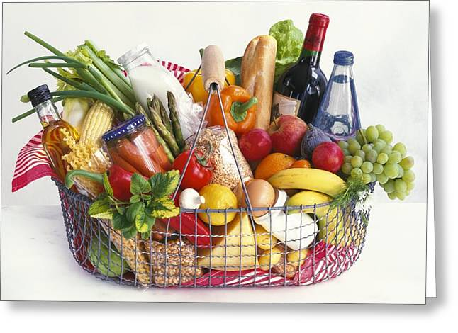 Vegetable Basket Greeting Cards - Shopping basket Greeting Card by Science Photo Library
