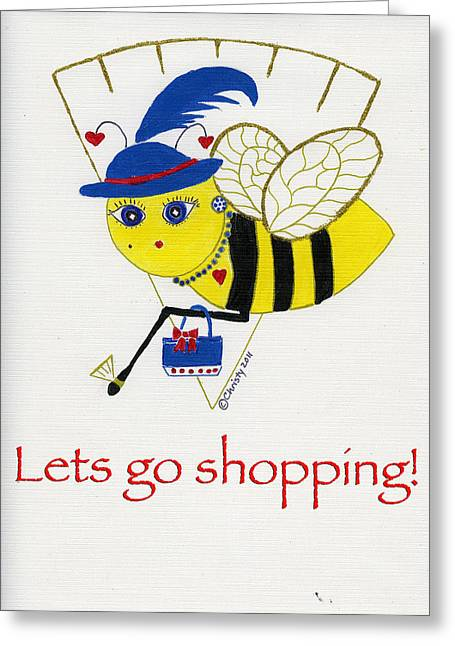 Recently Sold -  - Gold Necklace Greeting Cards - Shopping Bee Gilda Greeting Card by Christy Woodland