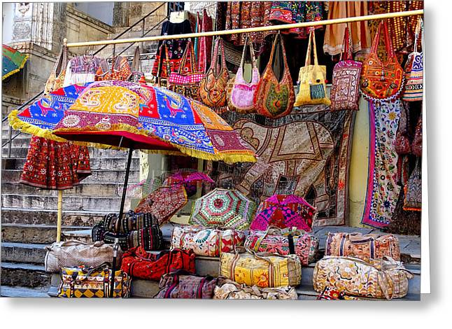 Shopping Colorful Bags Sale Jaipur Rajasthan India Greeting Card by Sue Jacobi