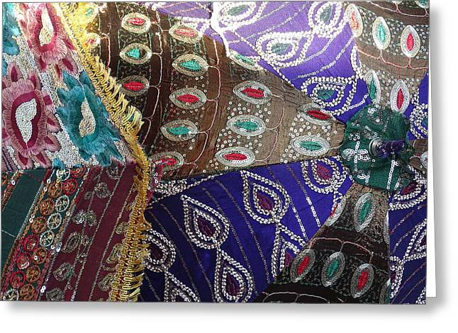 Jewelry Bag Greeting Cards - Shopping Colorful Umbrellas Sale Jaipur Rajasthan India Greeting Card by Sue Jacobi