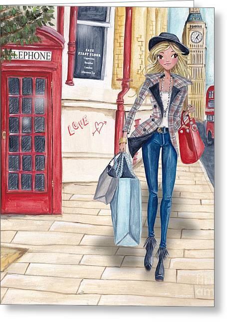 Shopping Bags Greeting Cards - Shopping in London Greeting Card by Caroline Bonne-Muller