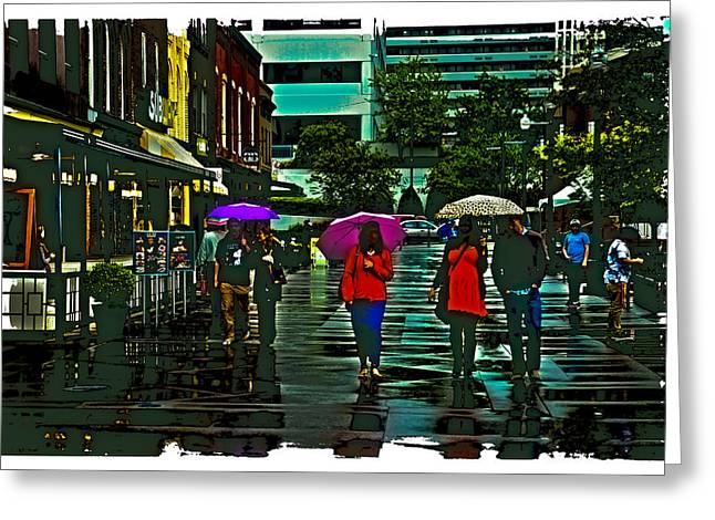 Tn Digital Art Greeting Cards - Shopping in the Rain - Knoxville Greeting Card by David Patterson