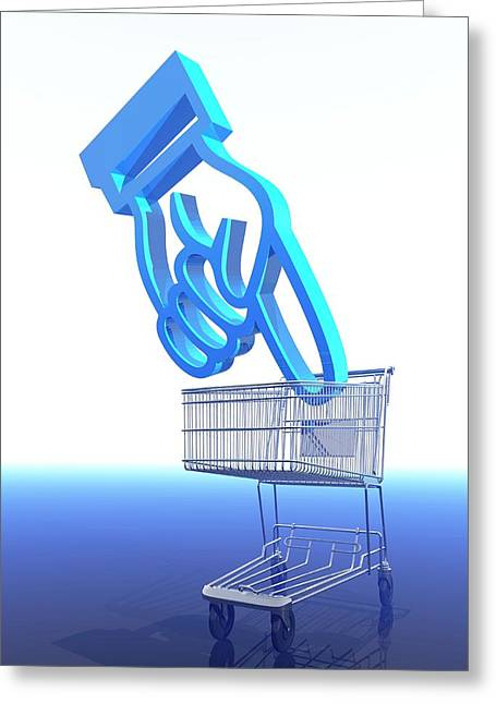 Shopping Trolley And Icon Greeting Card by Victor Habbick Visions