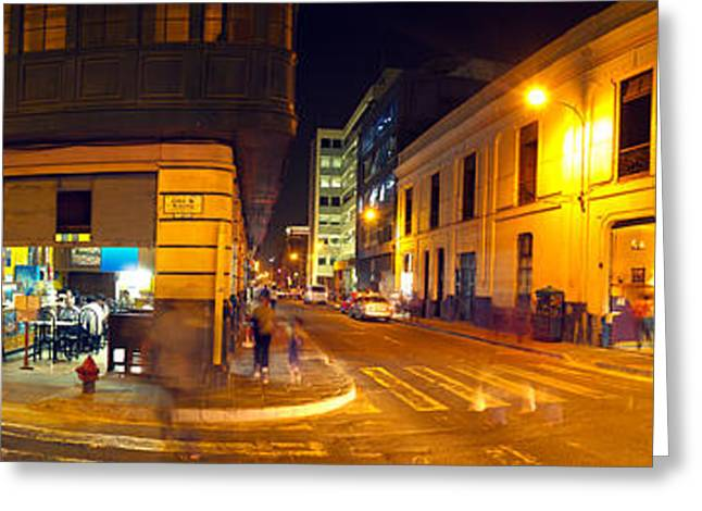 In-city Greeting Cards - Shops Along A Street At Night, Lima Greeting Card by Panoramic Images