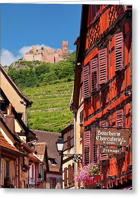 Shops And Homes Along Grand Rue Greeting Card by Brian Jannsen