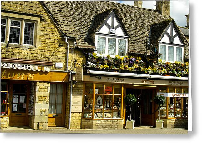 Geobob Greeting Cards - Shops in Cute Buildings Bourton on the Water Cotswold District Gloucestershire England Greeting Card by Robert Ford